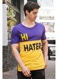 Madmext  Renk Bloklu Baskılı  Tişört 3089 Mor